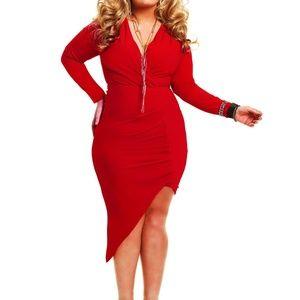 ❤ ❤  Jenna Asymmetrical Draped Dress - Red